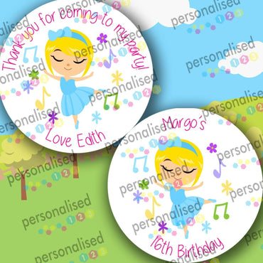 Personalised Birthday Party Stickers Girls Round Thank You Sweet Cone Loot Bag - Glossy