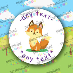 ANY TEXT Personalised Stickers Round Children Reward Labels Forest Animals Gloss