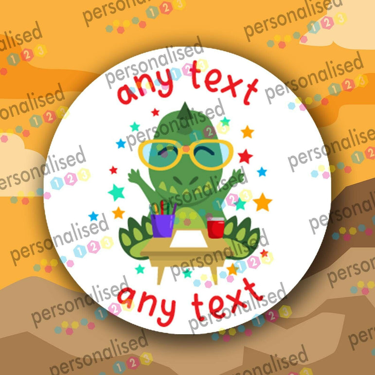 Personalised Dinosaur Stickers ANY TEXT Round Labels Dino Thank You Party Bag - Glossy