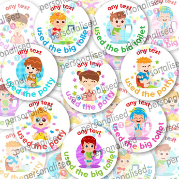 Personalised Potty Training Stickers Reward Labels Toilet Boy Girl Children Kids - Matte