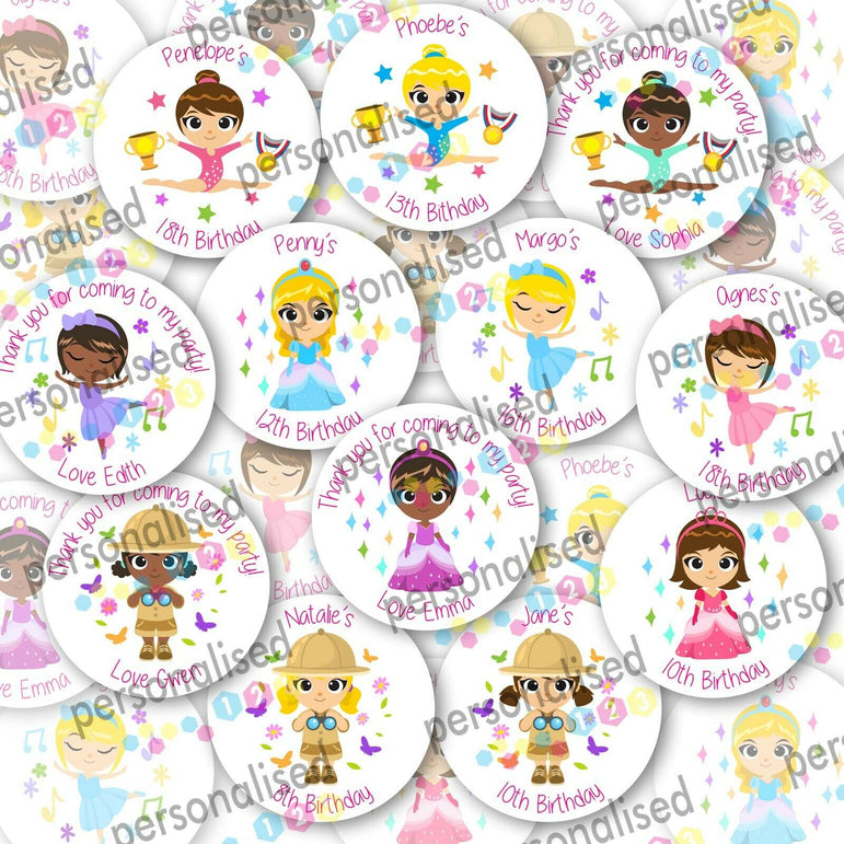 Personalised Birthday Party Stickers Girls Round Thank You Sweet Cone Loot Bag - Matte