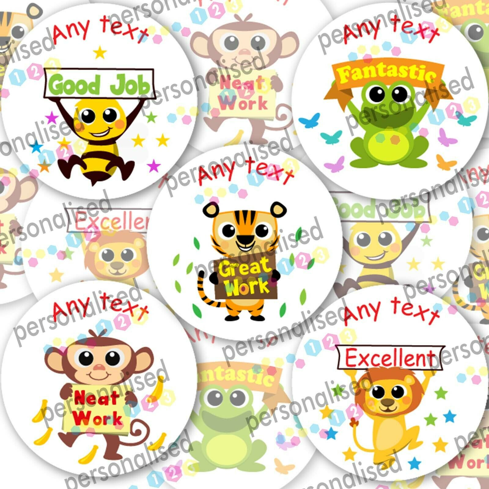 Personalised Reward Stickers For Children Animals Well Done Labels Teacher - Matte