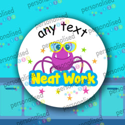 Personalised Teacher Stickers For Children Aliens Cute Monsters Well Done Labels - Matte
