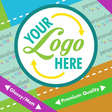Custom Logo Printed Personalised Round Stickers Labels Postage Business - Glossy