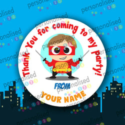 Personalised Birthday Party Stickers Superheroes Boys Thank You For Coming Label - Matte