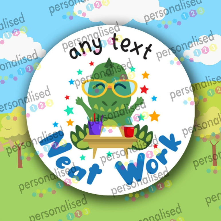 Personalised Reward Stickers Dino Dinosaurs Well Done Labels Children Teacher - Glossy