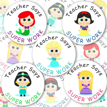 Personalised Reward Stickers Princess Teacher Well Done Labels For Girls School - Glossy