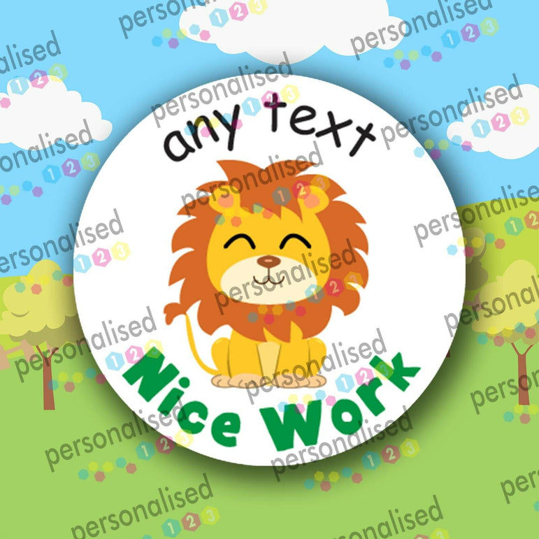 Personalised Teacher Stickers Safari Animals Well Done Reward Labels Children - Glossy
