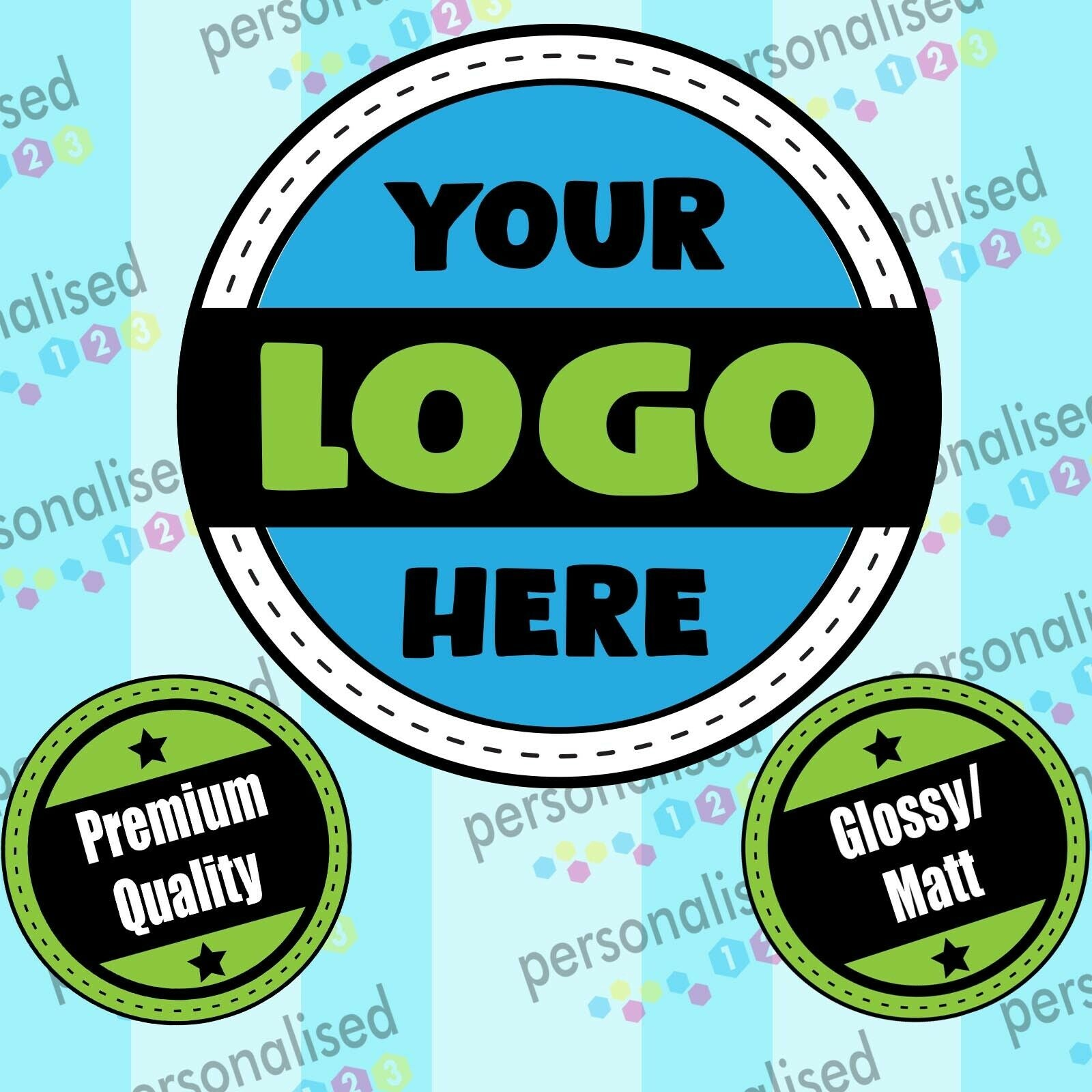 Personalised Logo Stickers Custom Business Labels Round  Printed Address Labels Any Text Stickers - Glossy