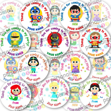 Personalised Birthday Party Stickers Superheroes Princess Thank You For Coming - Glossy