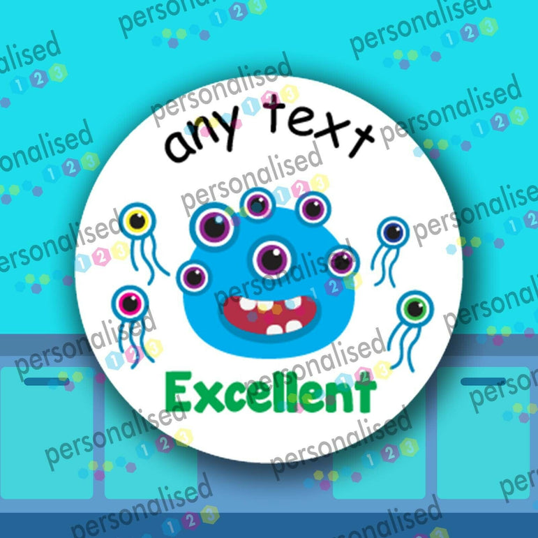Personalised Teacher Stickers For Children Aliens Cute Monsters Well Done Labels - Glossy