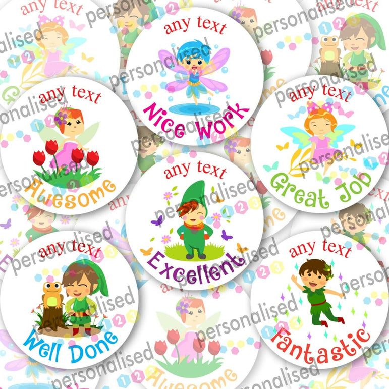 Personalised Reward Stickers For Children Fairy Tale Well Done Labels Teacher - Glossy