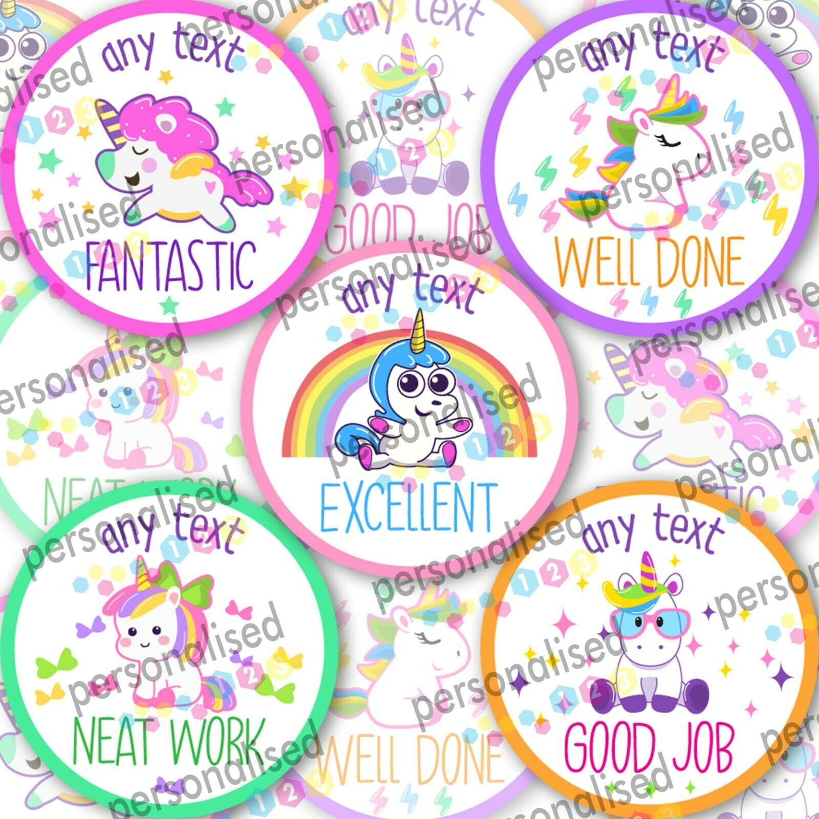 Personalised Reward Stickers Unicorn Girls Well Done Labels Gloss School Teacher - Glossy