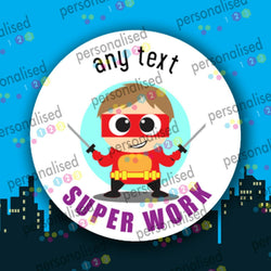 Personalised Reward Stickers Superheroes Teacher Well Done Label School Children - Glossy
