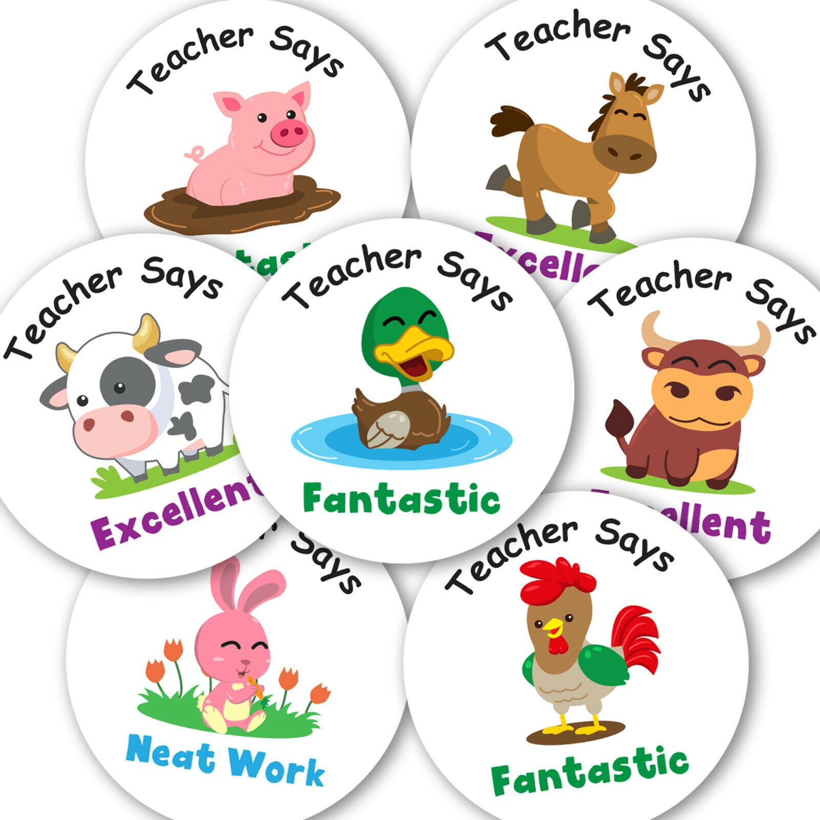 Personalised Stickers Teacher Reward Labels Farm Animals School Well Done - Matte