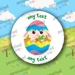 Personalised Easter Stickers Any Text Children Sweet Bag Labels Gift Bunny Chick - Glossy