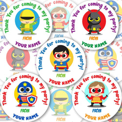 Personalised Birthday Party Stickers Superheroes Boys Thank You For Coming Label - Glossy