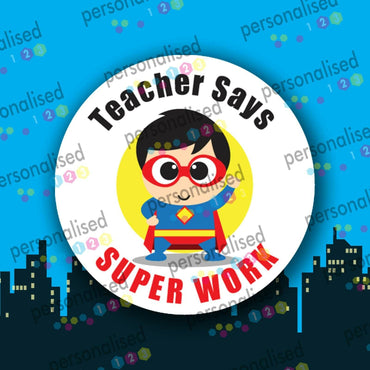 Personalised Reward Stickers Well Done Labels Princess Superheroes Teacher - Matte