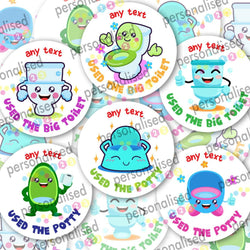Personalised Toilet Training Stickers Potty Reward Labels Boy Girl Children Kids - Matte