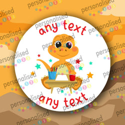 Personalised Dinosaur Stickers ANY TEXT Round Labels Dino Thank You Party Bag - Matte