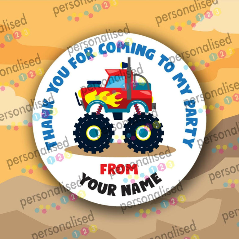 Personalised Birthday Stickers For Boys Cars Party Bag Labels Thank You Coming - Matte