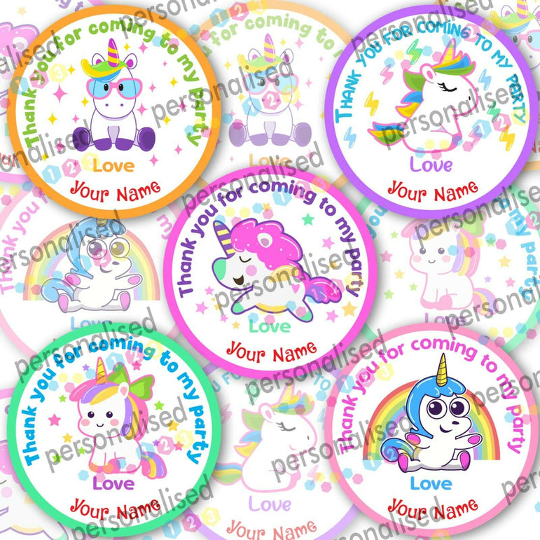Personalised Birthday Party Stickers Unicorn Girls Thank You For Coming Labels - Glossy