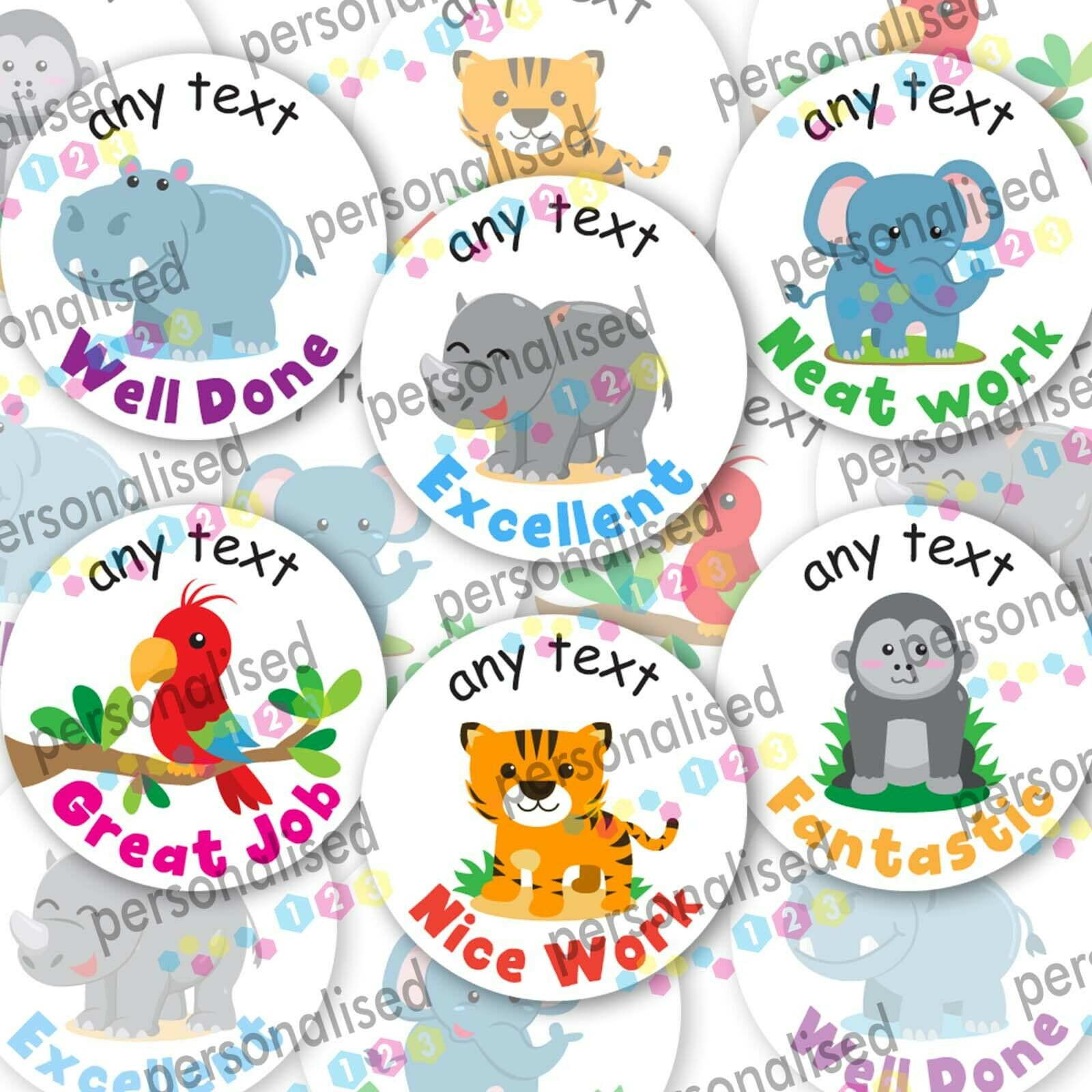 Personalised Reward Stickers Jungle Animals Teacher Well Done Labels Children - Matte