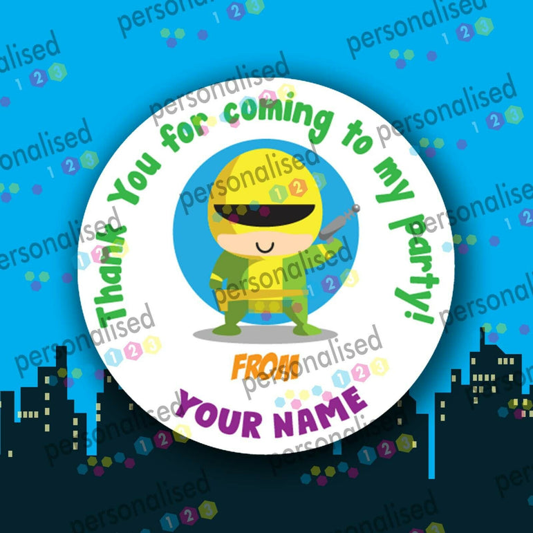 Personalised Birthday Party Stickers Superheroes Princess Thank You For Coming - Matte