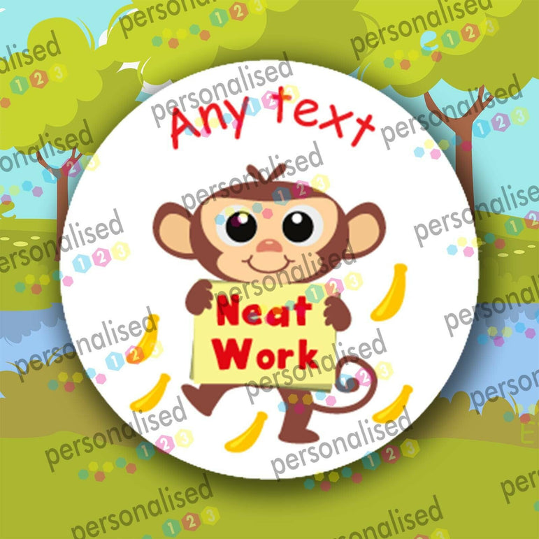 Personalised Reward Stickers For Children Animals Well Done Labels Teacher - Glossy
