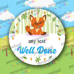 Personalised Reward Stickers Children Encourage Labels Cute Forest Animals - Matte