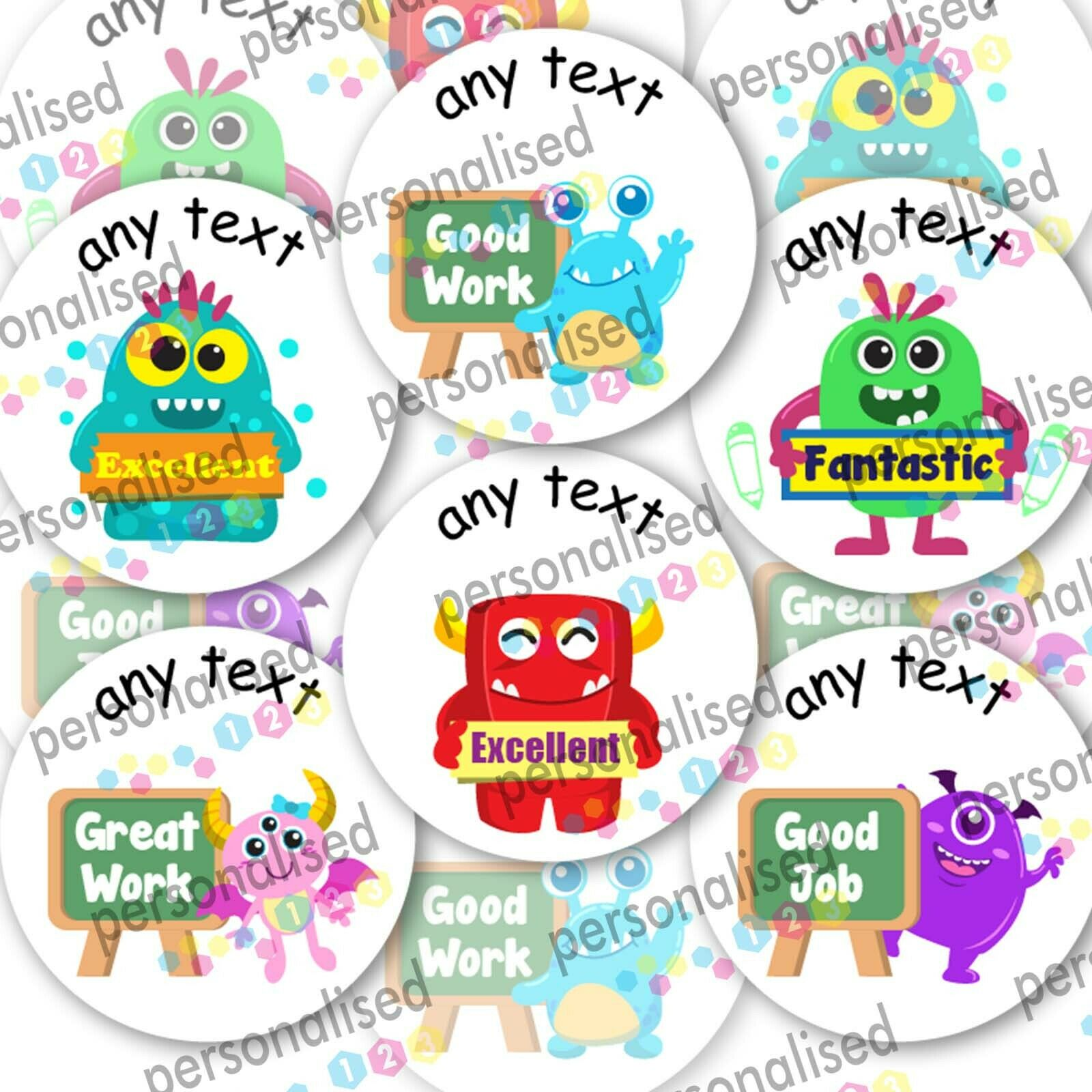 Personalised Reward Stickers For Children Monsters Teacher Well Done Labels Lot - Matte