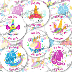 Personalised Unicorn Stickers ANY TEXT Round Labels Thank You Party Bag - Matte