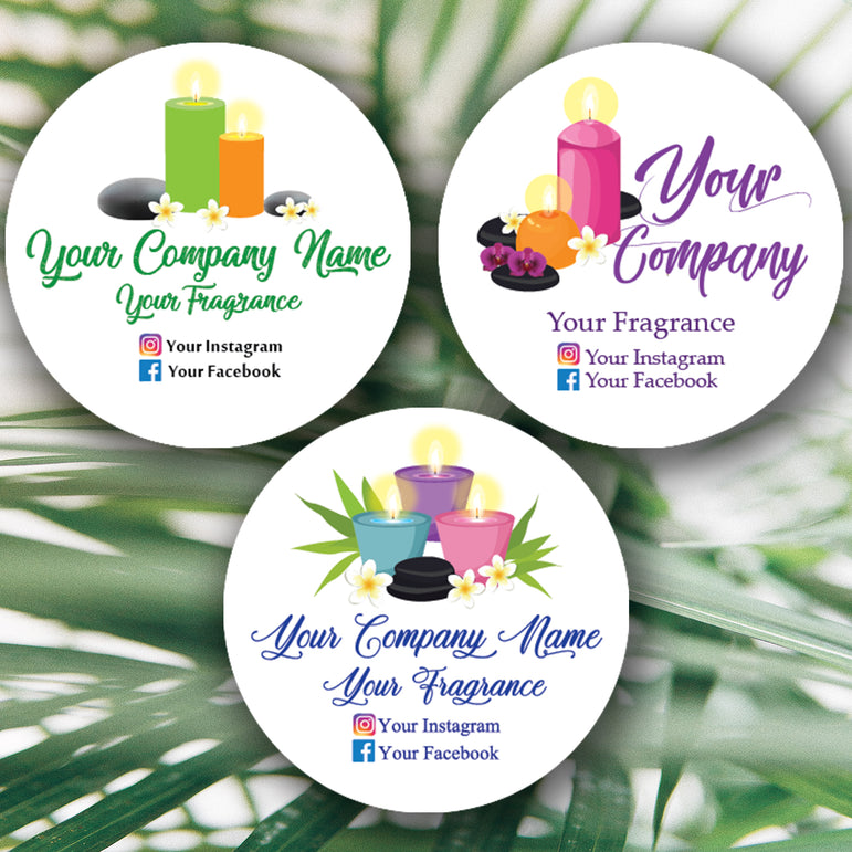 Personalised Candles Stickers Custom Business Labels Round Printed Address