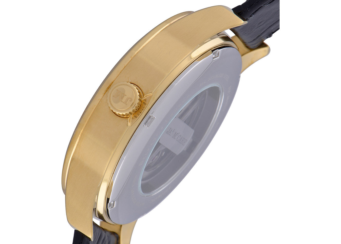 Black Leather Strap, Gold Plated Case, Black Dial Men's Watch