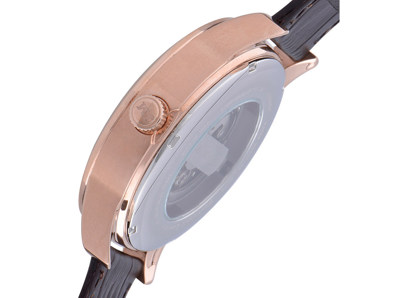 Brown Leather Strap, Rose Gold Plated Case, Black Dial Men's Watch