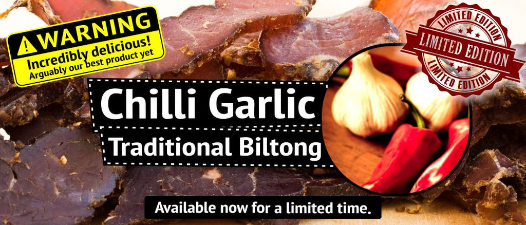 Delicious Chilli Garlic Traditional Biltong - available for a limited time