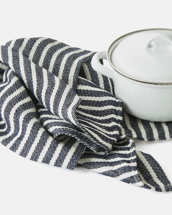 Thick Linen Kitchen Cloth: White Navy Border