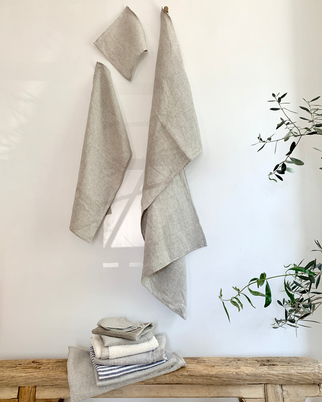Linen Washed Waffle Towels: Natural