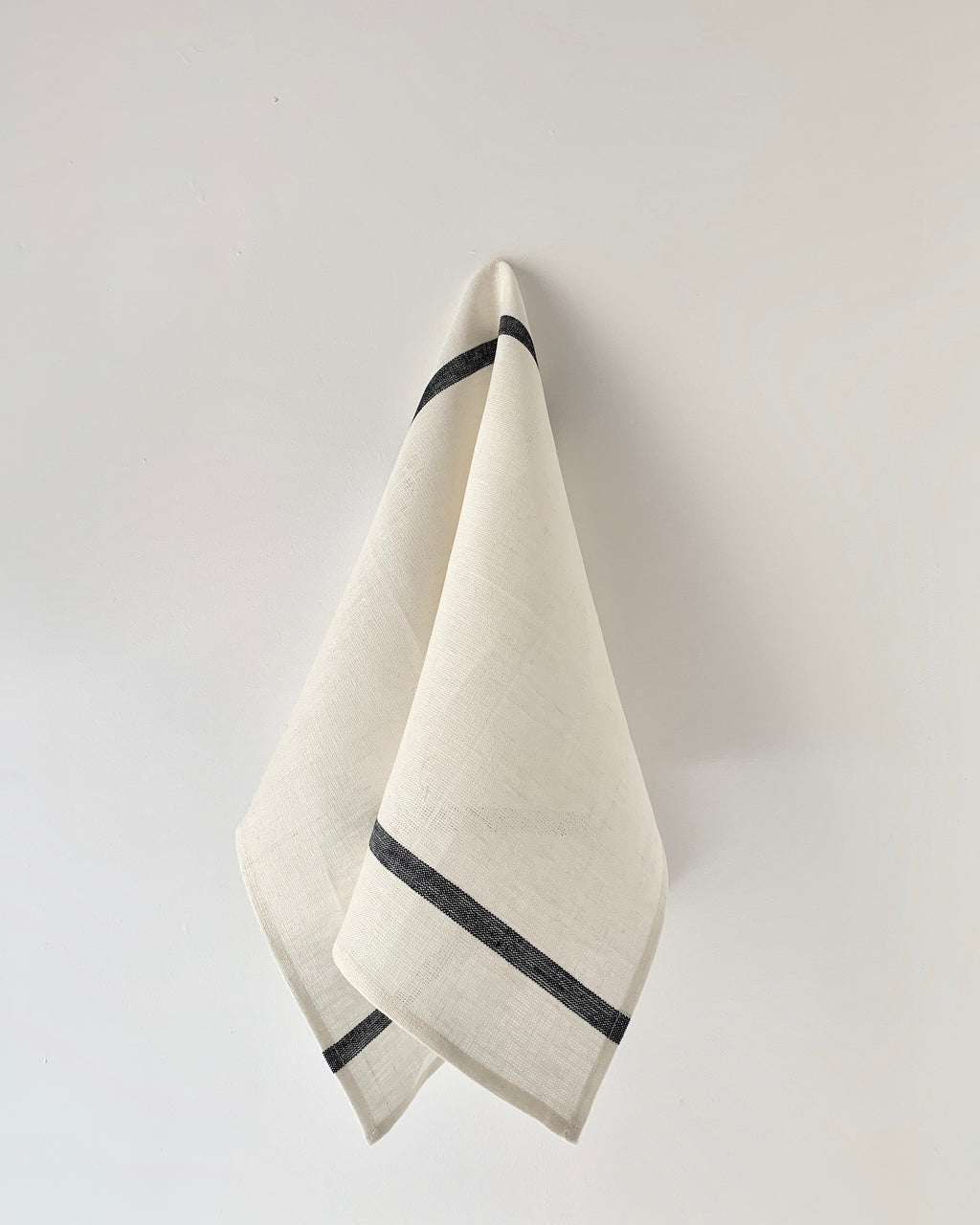 Thick Linen Kitchen Cloth: White with Navy Stripe