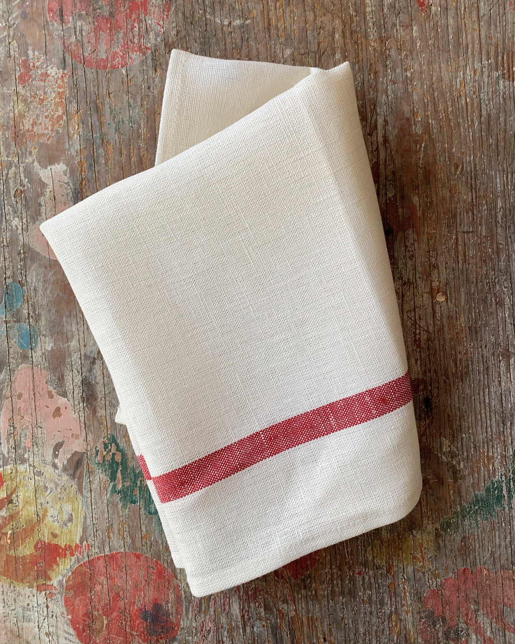 Thick Linen Kitchen Cloth: White with Red Stripe