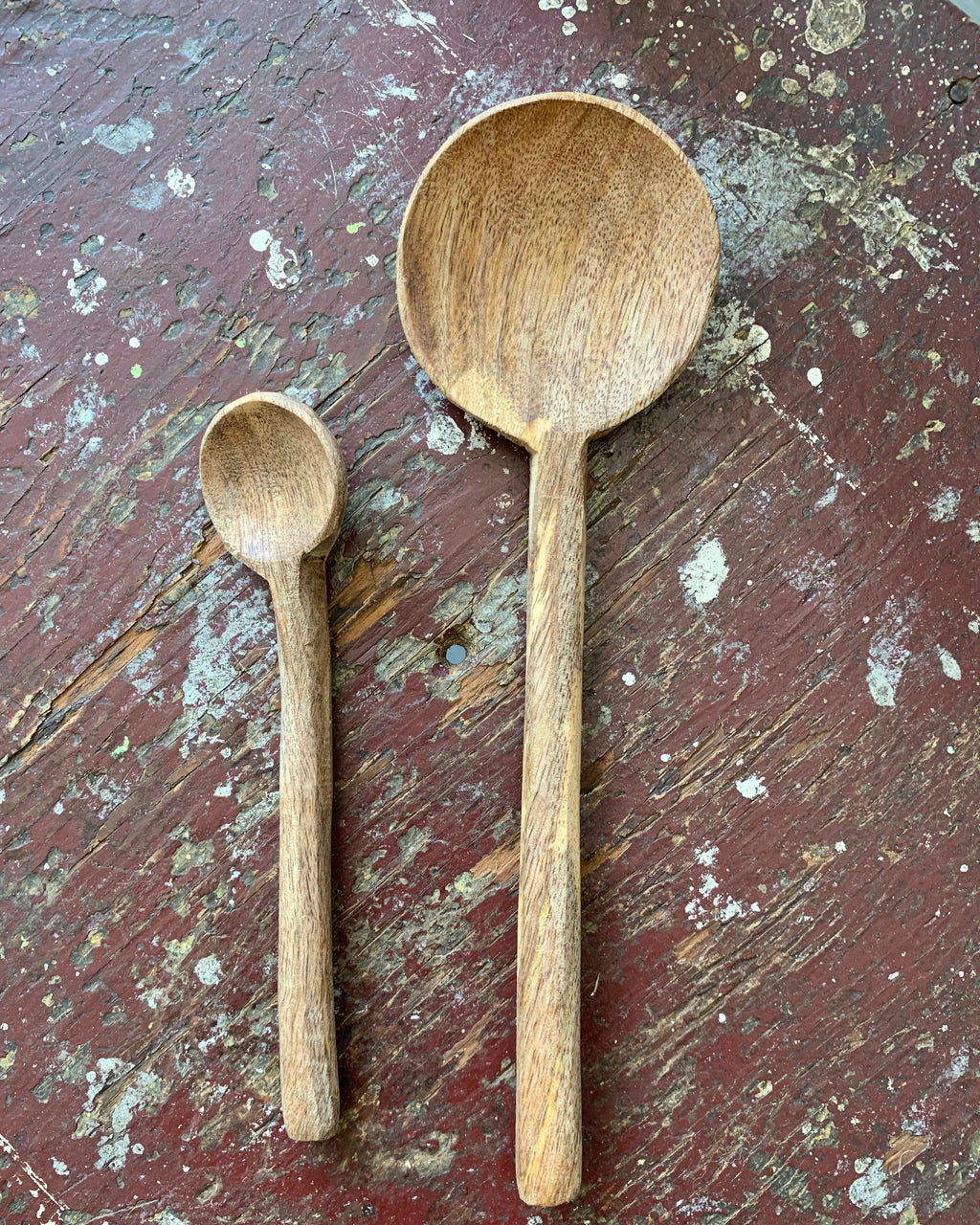 Mango Wood Round Spoon: Small