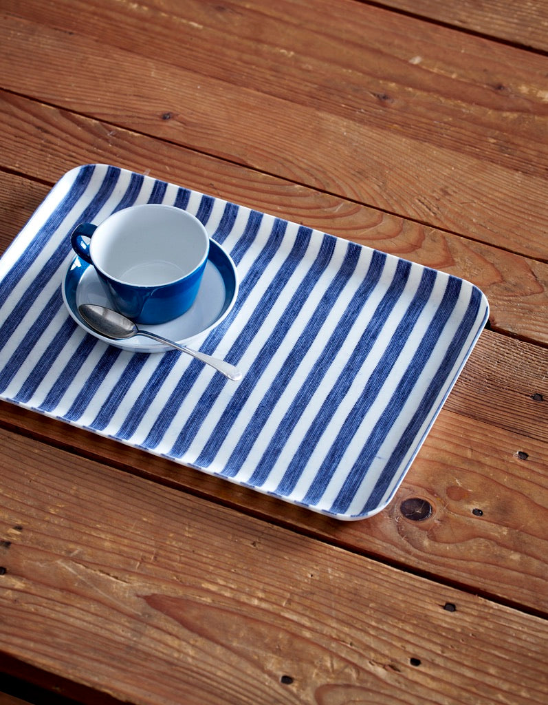 Linen Tray Medium: Blue White Stripe