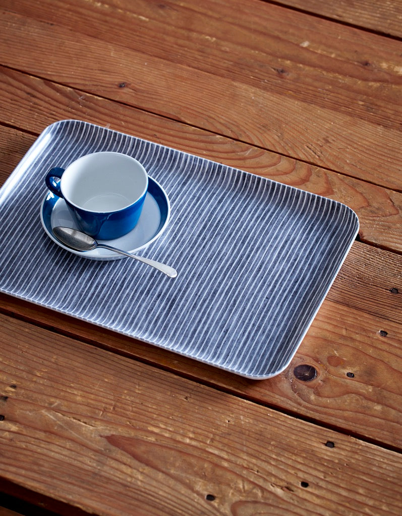 Linen Tray Medium: Grey Thin White Stripe