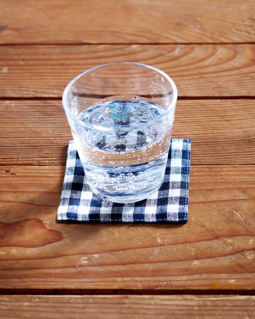 Coasters: Navy White Check