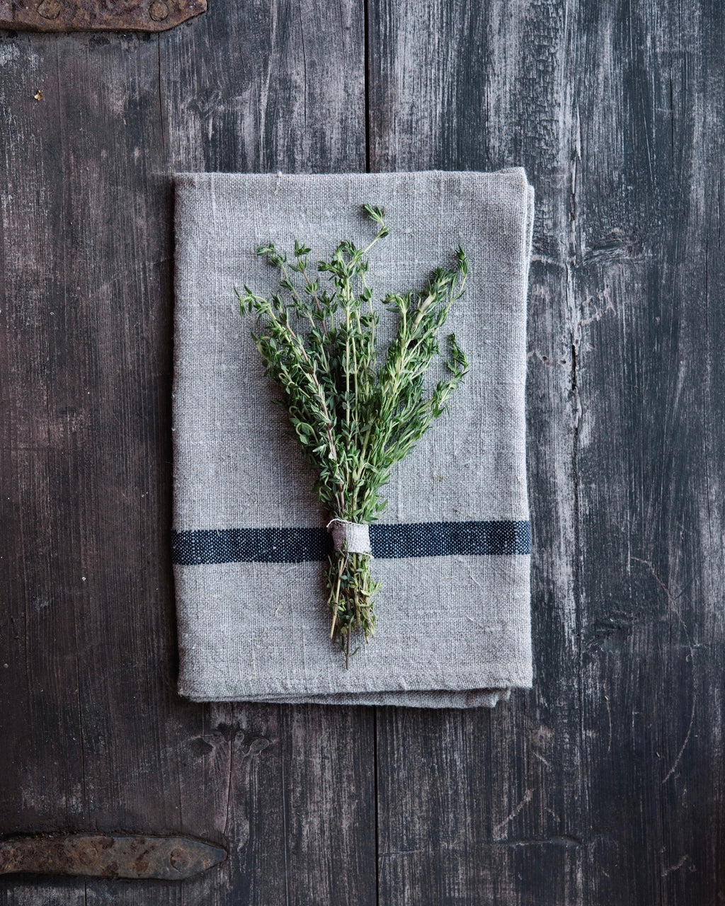 Thick Linen Kitchen Cloth: Natural with Navy Stripe