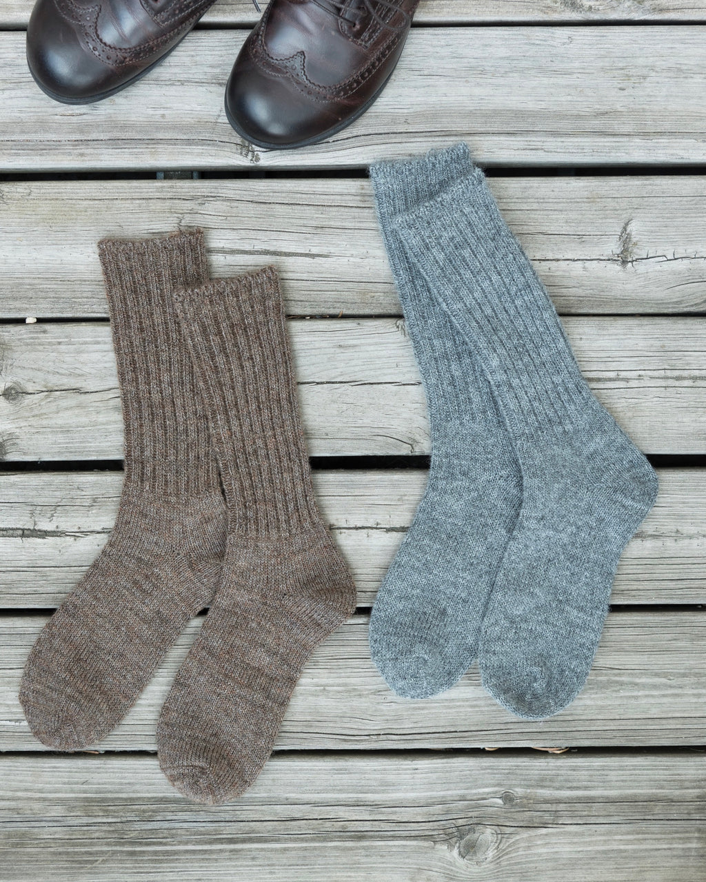 Mohair Socks: Brown