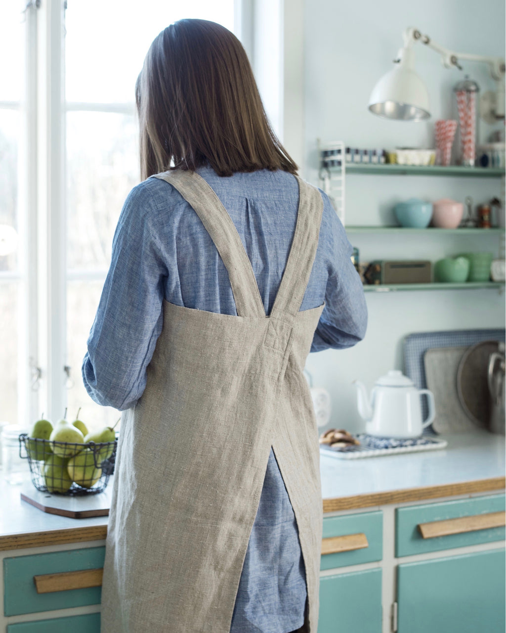 Square Cross Apron: Natural