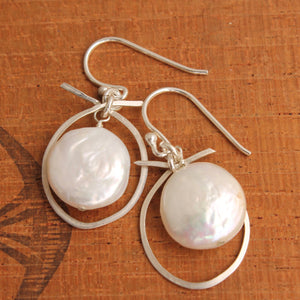 White Pearl Coins Ensconcsed in Silver