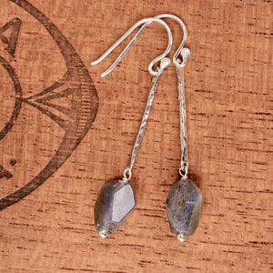 Labradorite Nugget and Hammered Sterling Bar Dangle