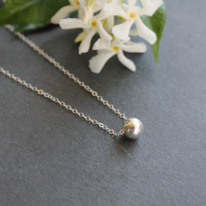 Simple Sterling Silver Ball Necklace